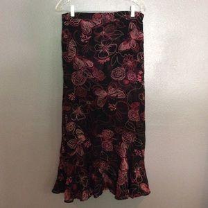 Dresses & Skirts - Reversible floral skirt in black & pink shades.